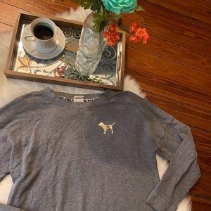 PINK Victoria's Secret Sweaters - Euc Vs pink gray sequin sweatshirt s
